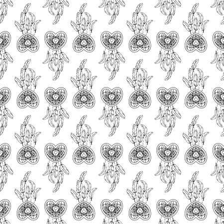 Hand drawn seamless pattern with native American dream catcher. Stock Illustratie
