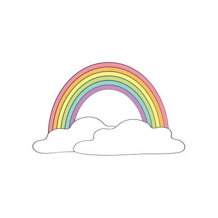 Cute vector illustration with rainbow and clouds on white background. Stock Illustratie