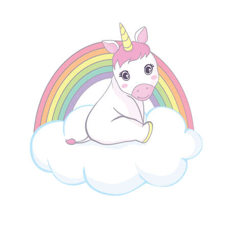 Cute magical unicorn and rainbow. Vector design isolated on a white background. Vector, illustration.