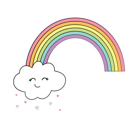 A hand-drawn rainbow with cute clouds. Illustration vector Stock Illustratie