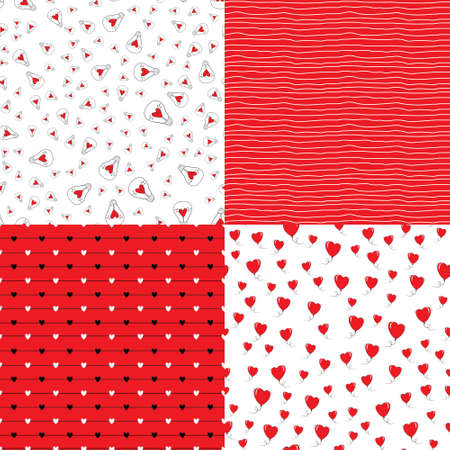 Heart shape vector seamless patterns. Endless texture can be used for printing onto fabric and paper or scrap booking. Valentines day background for invitation. Stock Illustratie