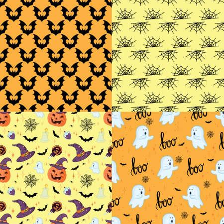 Halloween retro pattern various seamless patterns. Black and orange. Vector, illustration. 向量圖像