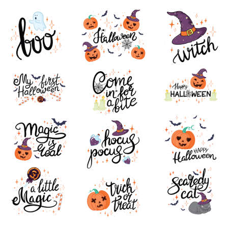 Happy Halloween hand drawn illustrations and elements. Halloween design elements, logos, badges, labels, icons and objects.