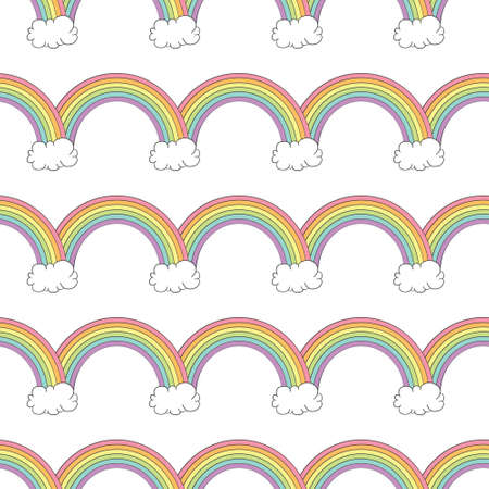 Seamless pattern with rainbows and clouds. Vector illustration.