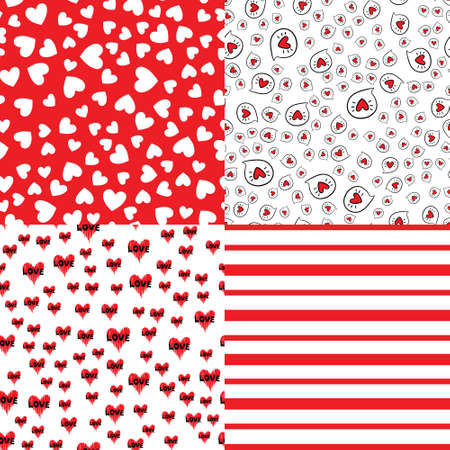 Heart shape vector seamless patterns. Endless texture can be used for printing onto fabric and paper or scrap booking. Valentines day background for invitation. 向量圖像