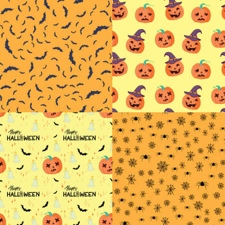 Halloween retro pattern various seamless patterns. Black and orange. Vector, illustration. Stock Illustratie