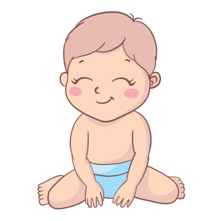 Happy little boy. A cartoon character isolated on a white background. Flat vector color illustration. 向量圖像