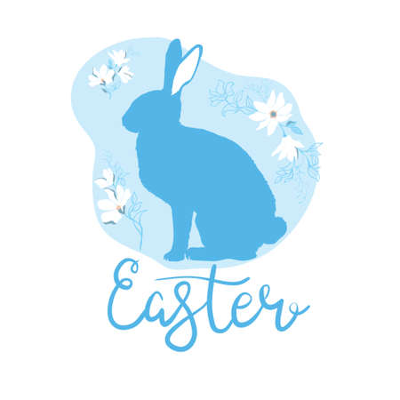 The silhouette of the rabbit is illustrated by the decor. A postcard for Easter.