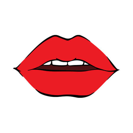 Lips kiss. Vector patch, sticker isolated on a white background. Cool sexy red kiss. Selfie Cartoon Sign for Printing vector, Illustration