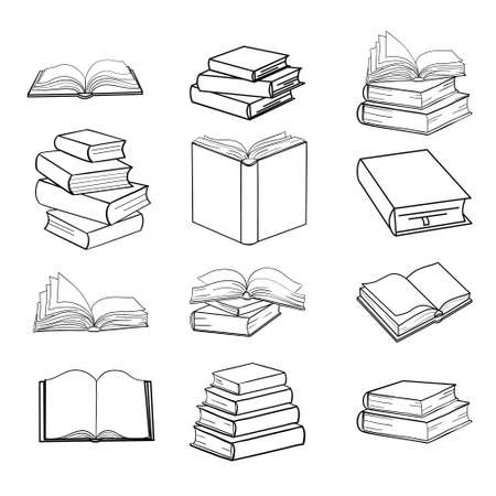 Set of sketches of books vector and illustration, black and white, hand drawn, sketch style, isolated on white background .. Vector illustration.