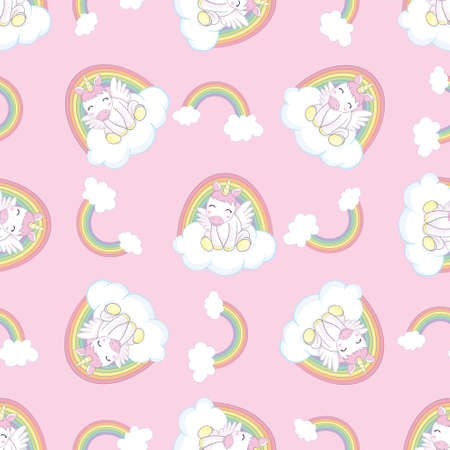 Hand drawn vector seamless pattern with unicorn, clouds and rainbow - color, line art style drawing. Could be used as background, print, wallpaper, wrapping paper and textile ornament.