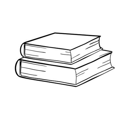books sketch vector and illustration, black and white, hand drawn, sketch style, isolated on white background.