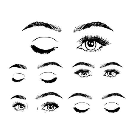 Female woman eyes and brows image collection set. Fashion moda girl eyes design. Stock Illustratie