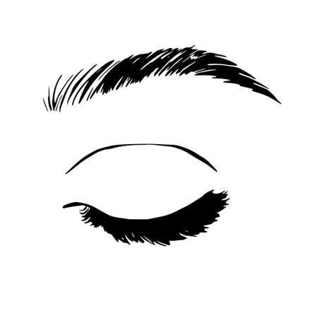 Isolated black and white female eyes. make up icon. hand drawn illustration