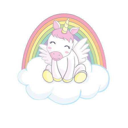 Cute magical unicorn and rainbow. Vector design isolated on white background. Stock Illustratie