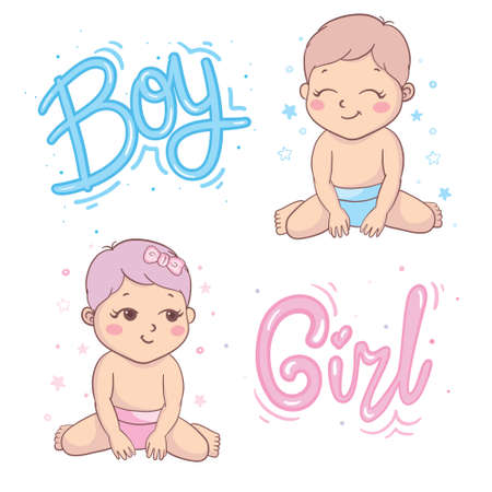 Vector greeting card. Baby shower card. Baby announcement card design element. It's a boy, it's a girl. Baby shower party design element.