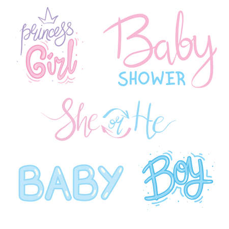 Vector Lettering for Baby Shower card. Baby shower party design element. Stock Illustratie
