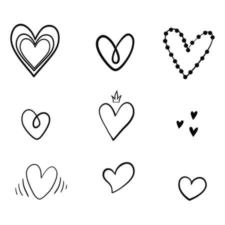 Set of unique hand drawn hearts. Set of vector hand icons. Illustration isolated on white background. Stock Illustratie