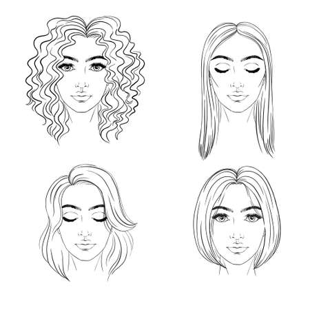A set of different hairstyles. Hand-drawn. Vector, illustration. 向量圖像