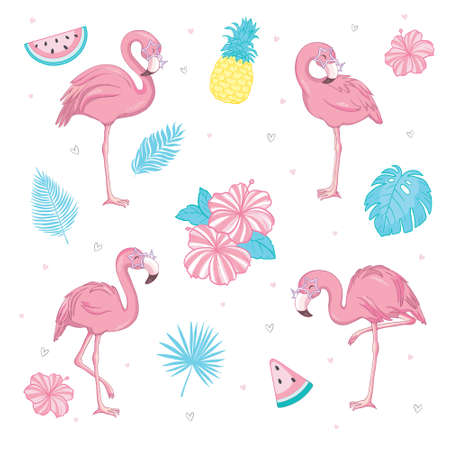 Vector set of cute pink flamingos. Summer illustration. A tropical bird isolated on a white background.