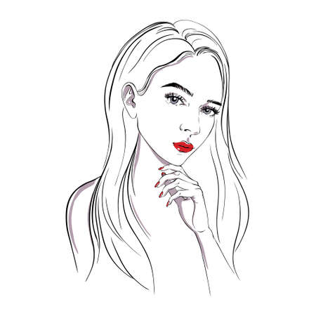 Sketch girl, profile, vector illustration. A beautiful young woman. A stylish lady. The model.