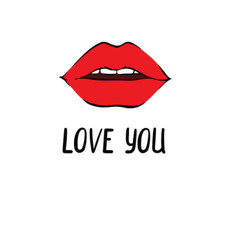 sexy lips kisses isolated icon with the inscription for Valentine's day. vector illustration.