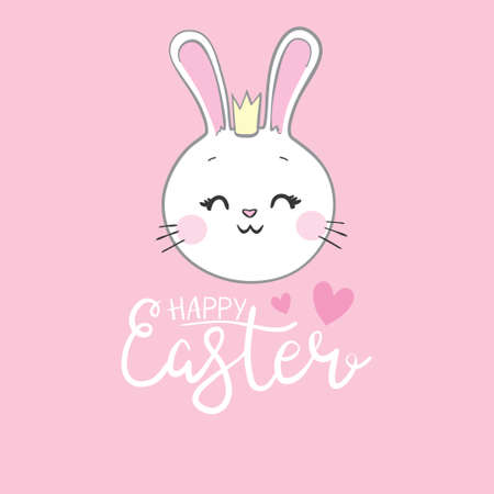 Happy Easter Bunny Vector illustration. Cute Rabbit cartoon character.