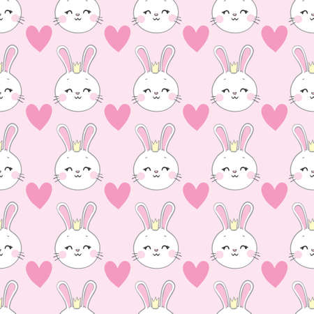 seamless pattern, rabbit vector art background design for fabric and decor. Vector, illustration.