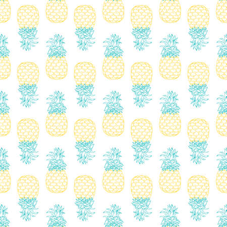 Seamless pineapple pattern for textile fabric or wallpaper. Vector illustration.