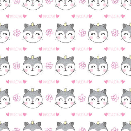 Seamless pattern cat, hand drawn kitten. Vector illustration.