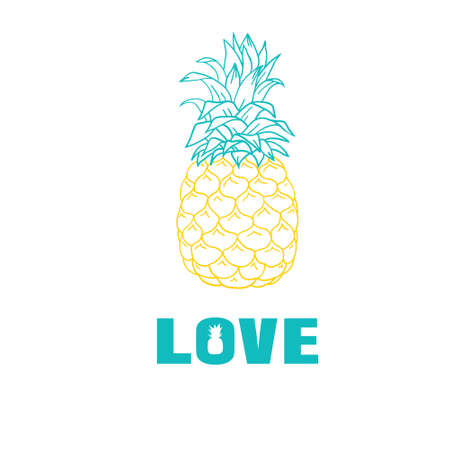 Love pineapple vector illustration Vectores
