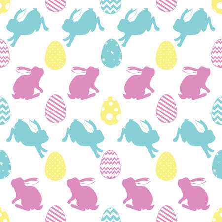 Cute Easter bunnies. Cute children's seamless pattern in cartoon style.