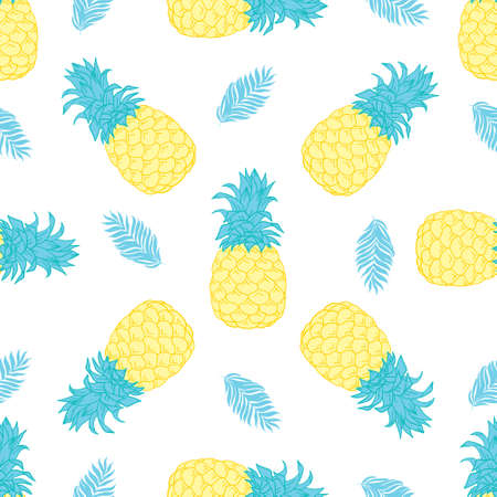 Seamless pineapple pattern for textile fabric or wallpaper. Vector, illustration. Vectores