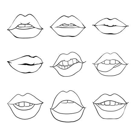Set of sketches vector illustrations-Mouth with teeth. Female lips isolated on a white background.