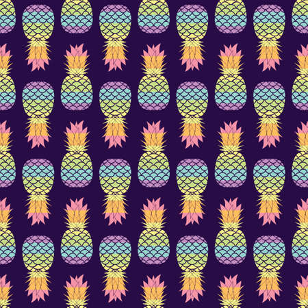 Vivid exotic seamless pattern with rainbow colored pineapples and dots in vector