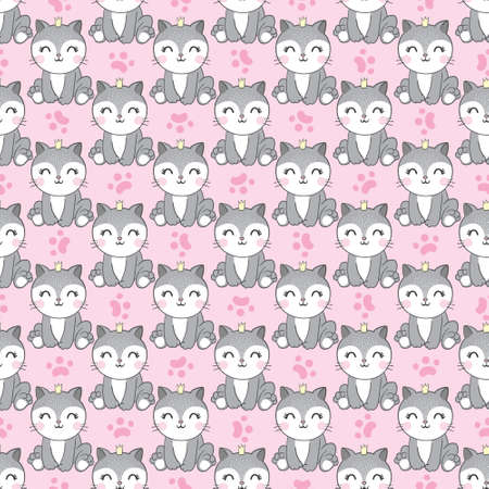 Seamless pattern cat, hand drawn kitten. Vector, illustration.