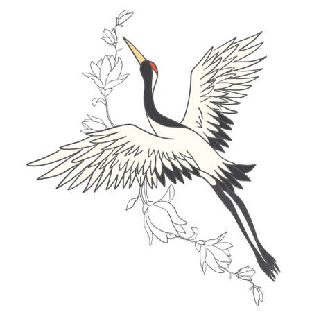Japanese crane bird isolate on a white background. Vector graphics. Vectores