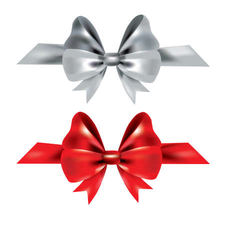 Gift bow made of silk ribbon. Red and silver bow tie isolated on white background. 3D gift bow tie for Christmas gift, holiday decoration, birthday celebration. Decorative satin ribbon Vector Illustration element