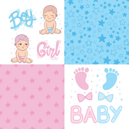 Vector greeting card. Baby shower card. Baby announcement card design element. It's a boy lettering, it's a girl lettering. Baby shower party design element. Vectores