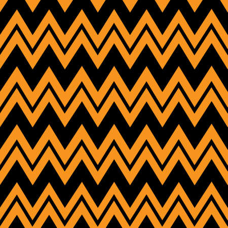 orange & black chevron pattern, seamless texture background. Vector, illustration.