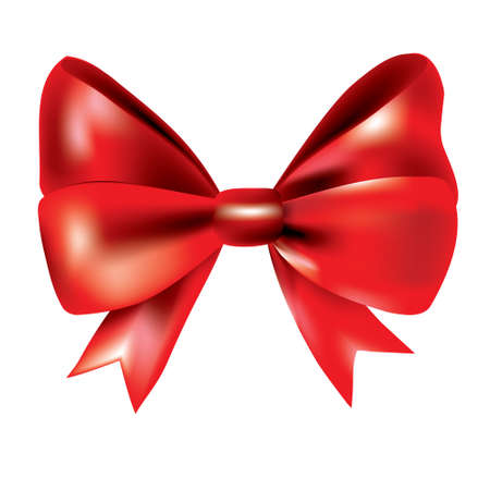 Gift bow ribbon silk. Red bow tie isolated on white background. 3D gift bow tie for Christmas present, holiday decoration, birthday celebration. Decorative satin ribbon element Vector illustration