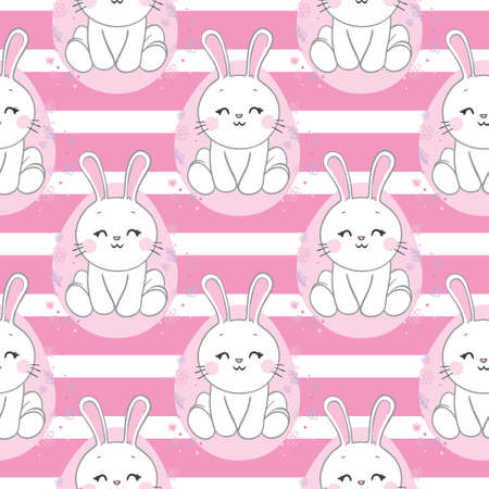 Seamless pattern with daisy garden and rabbits on pink background vector illustration. Cute cartoon character.