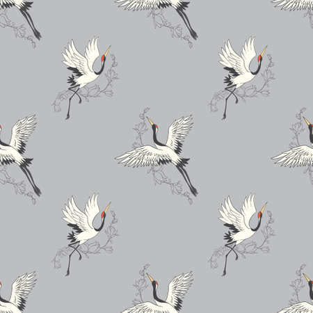 Seamless pattern with flowers and white Japanese cranes. Vector, illustration Vectores