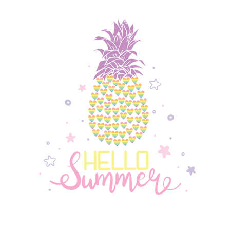 Pineapple is a colorful sketch isolated on a white background. Vector illustration for wallpaper, textiles, fashion banners, postcards, posters.