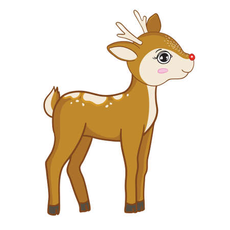 Hand-drawn vector illustration of a cute funny deer. Isolated objects on a white background. Flat design. The concept of children's printing. A forest animal.