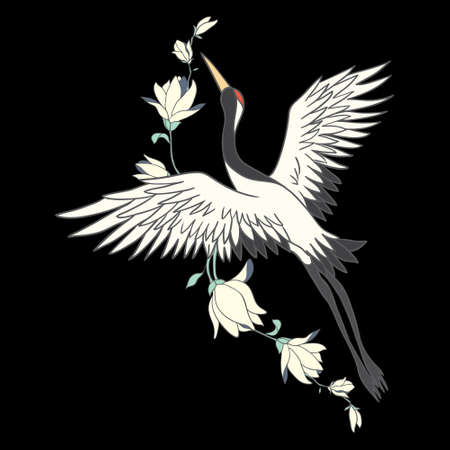 Japanese crane bird isolate on a white background. Vector graphics.