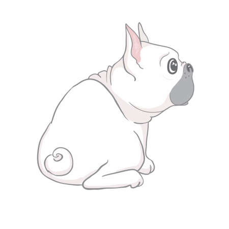 French bulldog cute sitting puppy with funny head tilt vector cartoon illustration isolated on white. Dogs, pets, animal lovers theme design element.