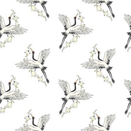 Seamless pattern with flowers and white Japanese cranes. Vector, illustration