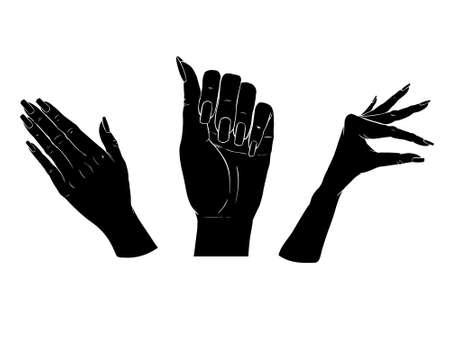 Female black silhouette hands over white background. Set vector illustration