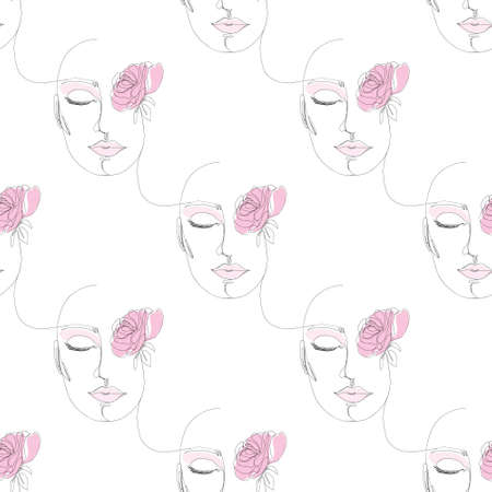 One line drawing abstract face seamless pattern, minimalistic contour line art. Continuously with people's faces. Vector illustration